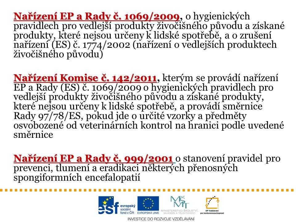 Nařízení EP a Rady č. 1069/2009, o hygienických pravidlech pro vedlejší produkty živočišného původu a získané produkty, které nejsou určeny k lidské spotřebě, a o zrušení nařízení (ES) č. 1774/2002 (nařízení o vedlejších produktech živočišného původu)