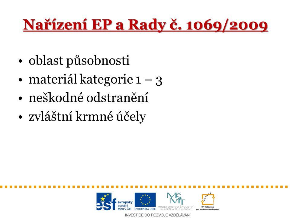 Nařízení EP a Rady č. 1069/2009 oblast působnosti
