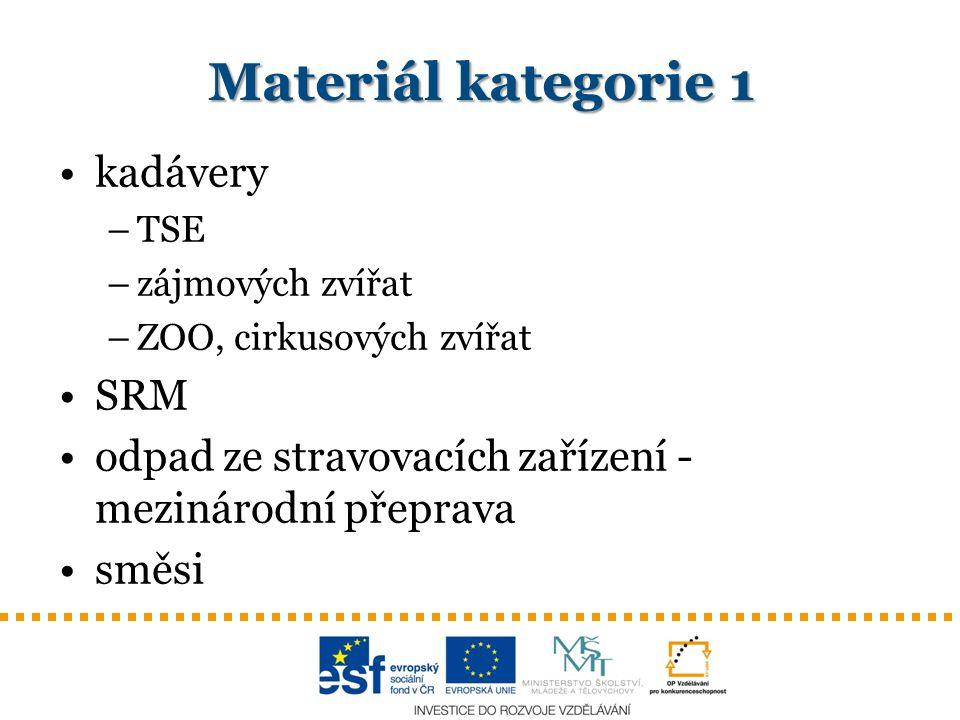Materiál kategorie 1 kadávery SRM