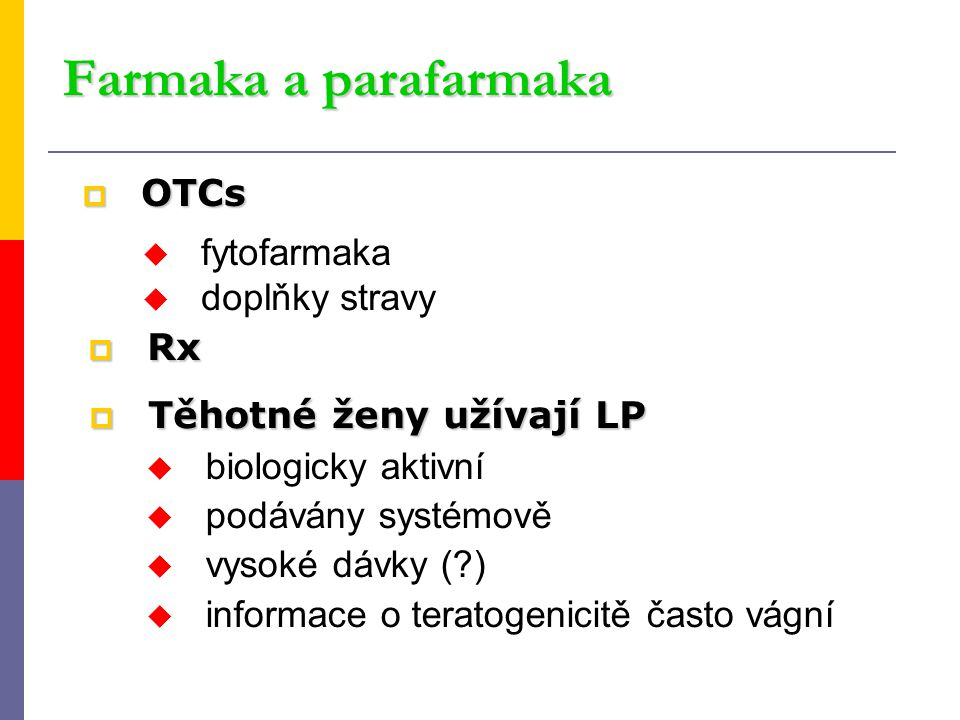 Farmaka a parafarmaka OTCs fytofarmaka doplňky stravy Rx