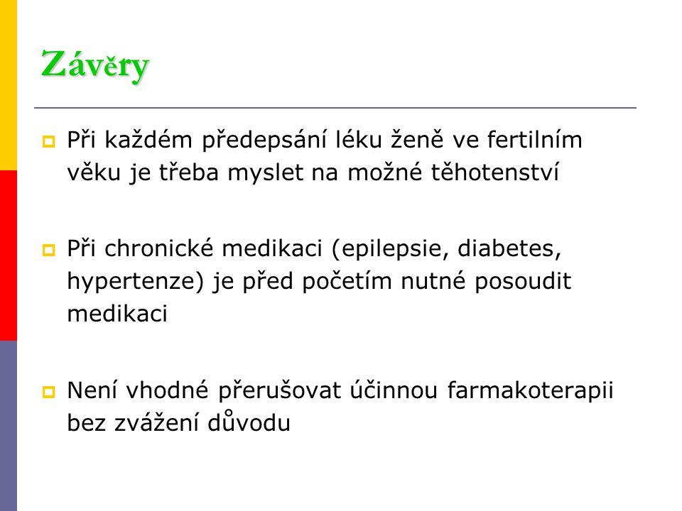 Závěry Při každém předepsání léku ženě ve fertilním věku je třeba myslet na možné těhotenství.