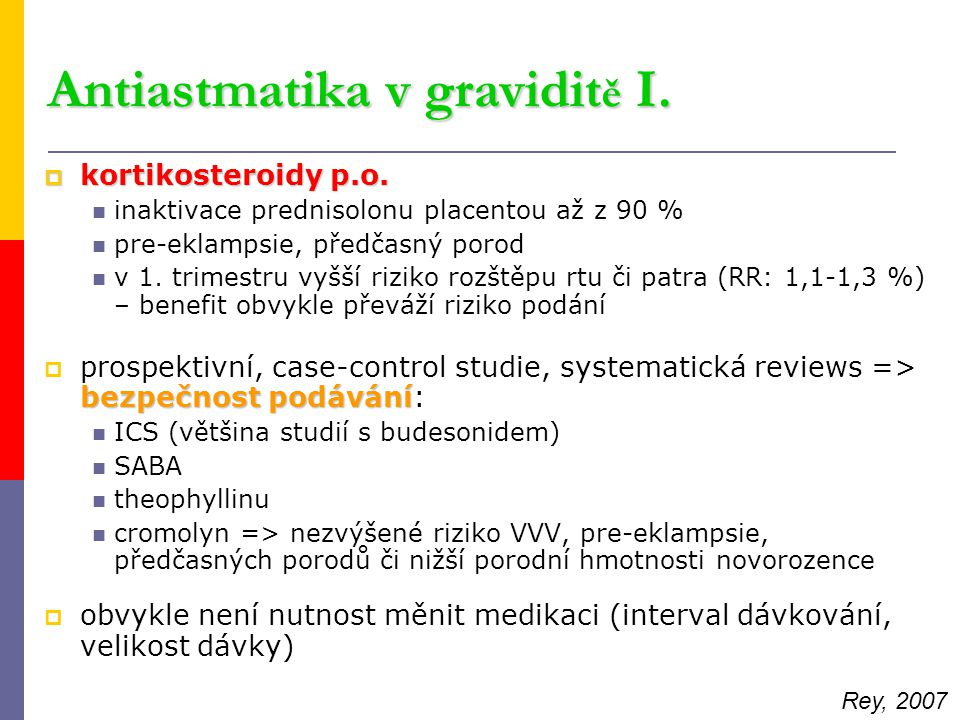 Antiastmatika v graviditě I.