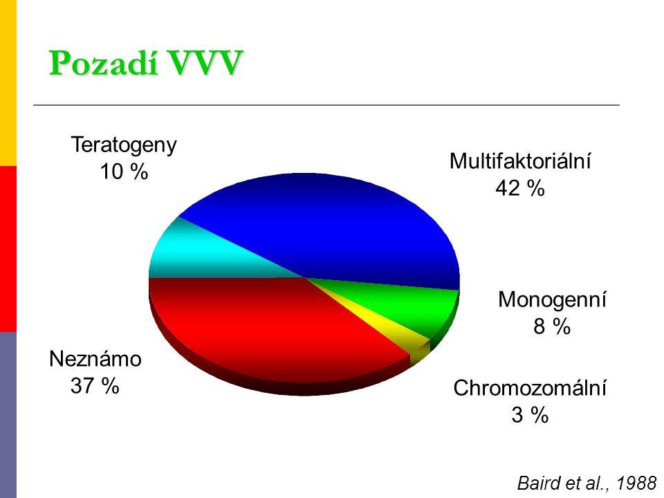 Pozadí VVV Teratogeny 10 % Multifaktoriální 42 % Monogenní 8 % Neznámo