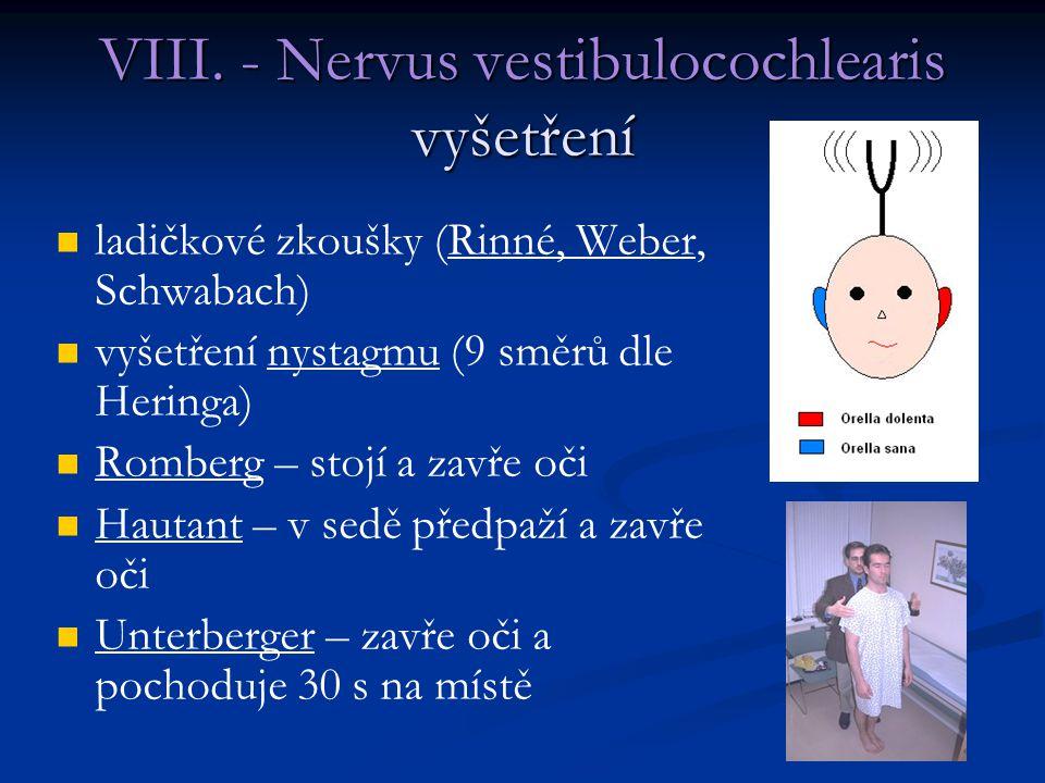 VIII. - Nervus vestibulocochlearis vyšetření