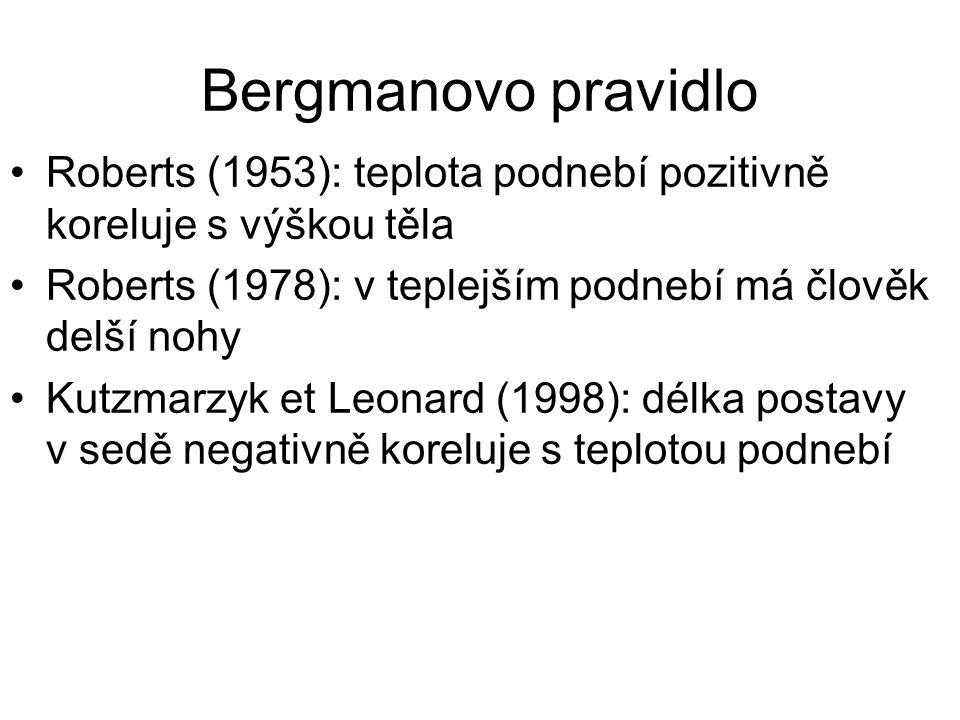Bergmanovo pravidlo Roberts (1953): teplota podnebí pozitivně koreluje s výškou těla. Roberts (1978): v teplejším podnebí má člověk delší nohy.