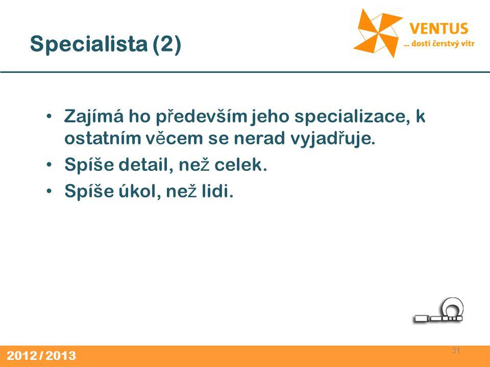 Specialista (2) Zajímá ho především jeho specializace, k ostatním věcem se nerad vyjadřuje. Spíše detail, než celek.