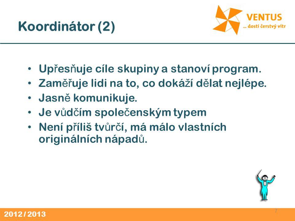 Koordinátor (2) Upřesňuje cíle skupiny a stanoví program.