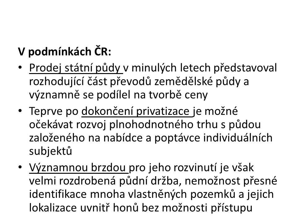 V podmínkách ČR: Prodej státní půdy v minulých letech představoval rozhodující část převodů zemědělské půdy a významně se podílel na tvorbě ceny.