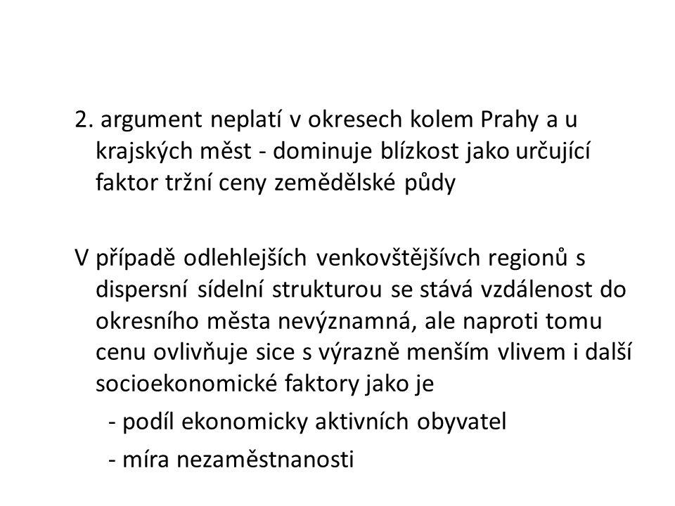 2. argument neplatí v okresech kolem Prahy a u krajských měst - dominuje blízkost jako určující faktor tržní ceny zemědělské půdy