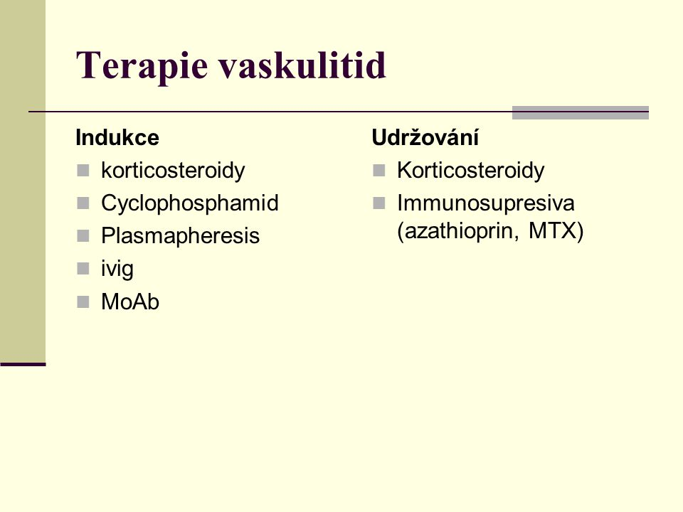 Terapie vaskulitid Indukce korticosteroidy Cyclophosphamid
