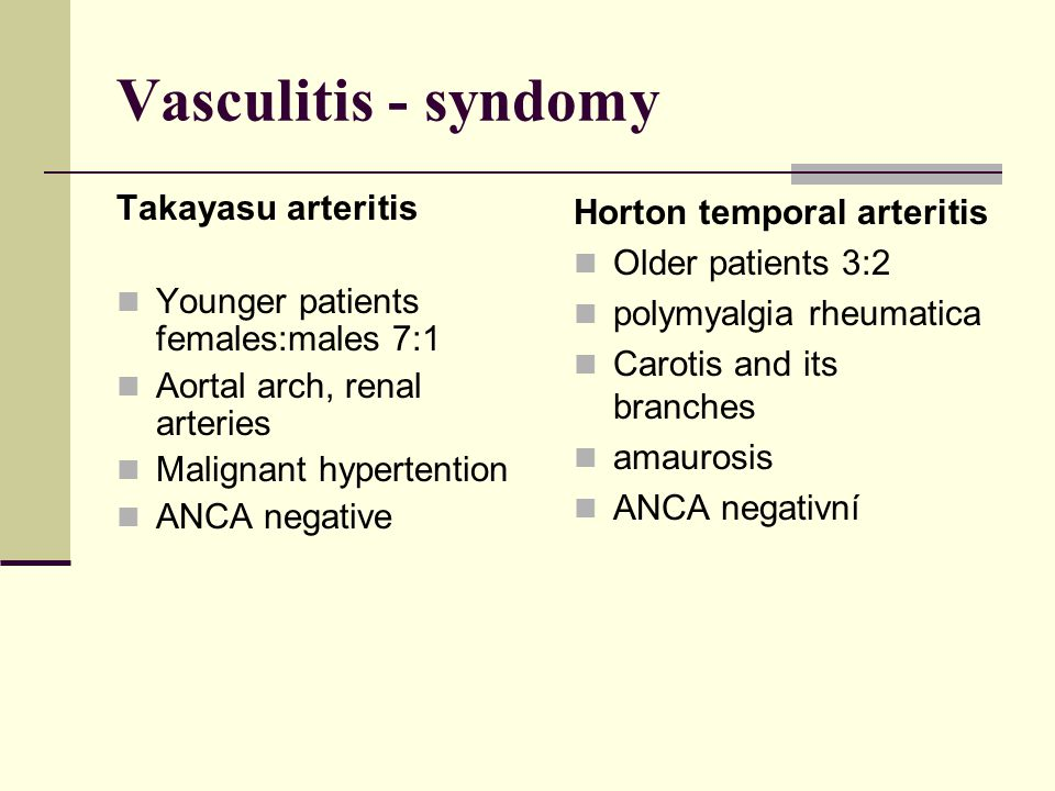 Vasculitis - syndomy Takayasu arteritis