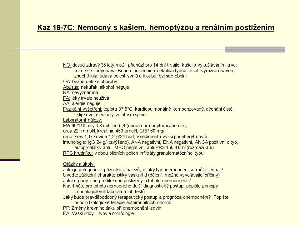 Kaz 19-7C: Nemocný s kašlem, hemoptýzou a renálním postižením