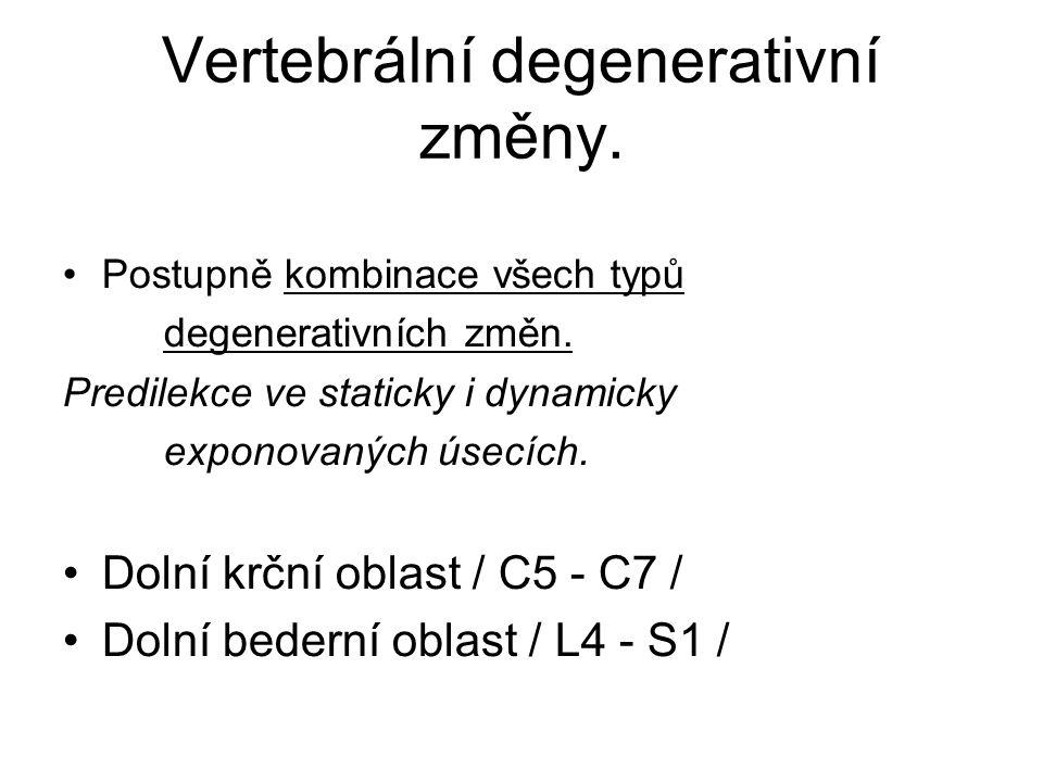 Vertebrální degenerativní změny.