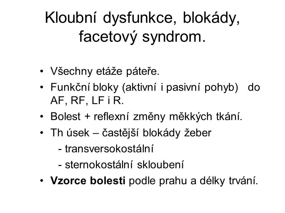 Kloubní dysfunkce, blokády, facetový syndrom.