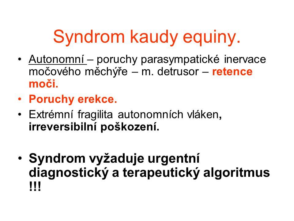 Syndrom kaudy equiny. Autonomní – poruchy parasympatické inervace močového měchýře – m. detrusor – retence moči.