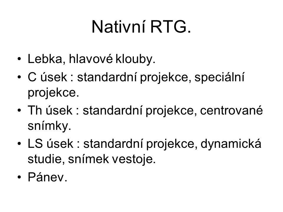 Nativní RTG. Lebka, hlavové klouby.