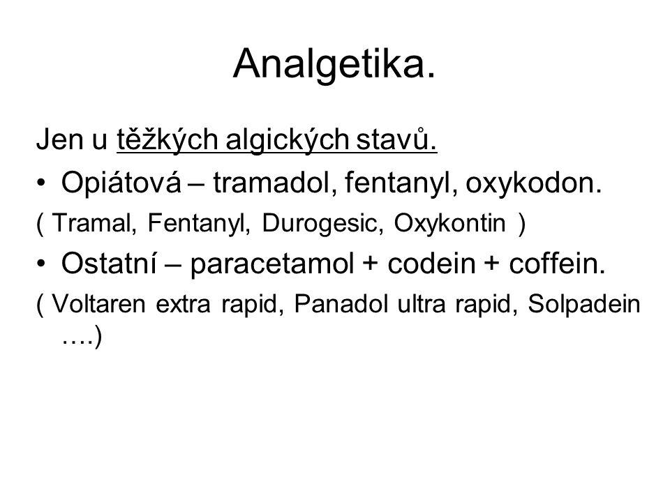 Analgetika. Jen u těžkých algických stavů.