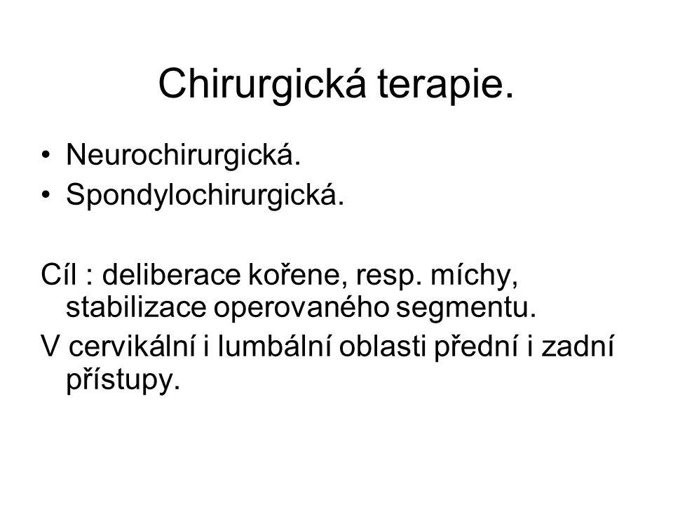 Chirurgická terapie. Neurochirurgická. Spondylochirurgická.