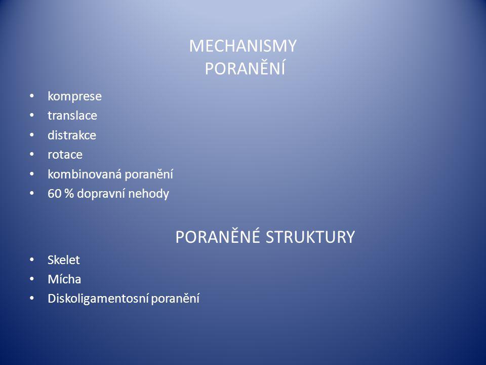 MECHANISMY PORANĚNÍ komprese translace distrakce rotace