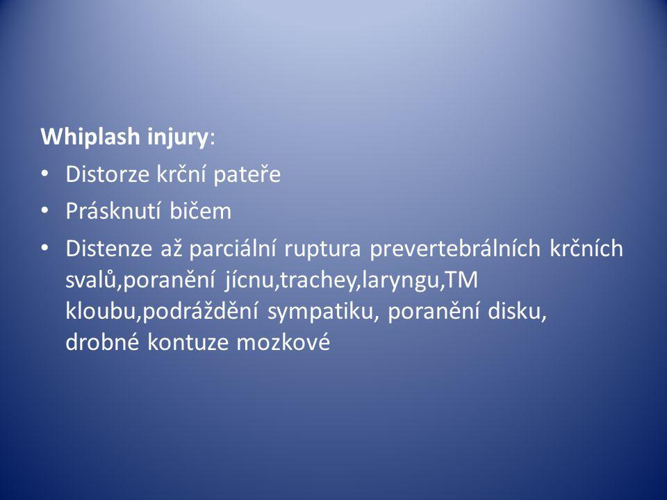 Whiplash injury: Distorze krční pateře. Prásknutí bičem.