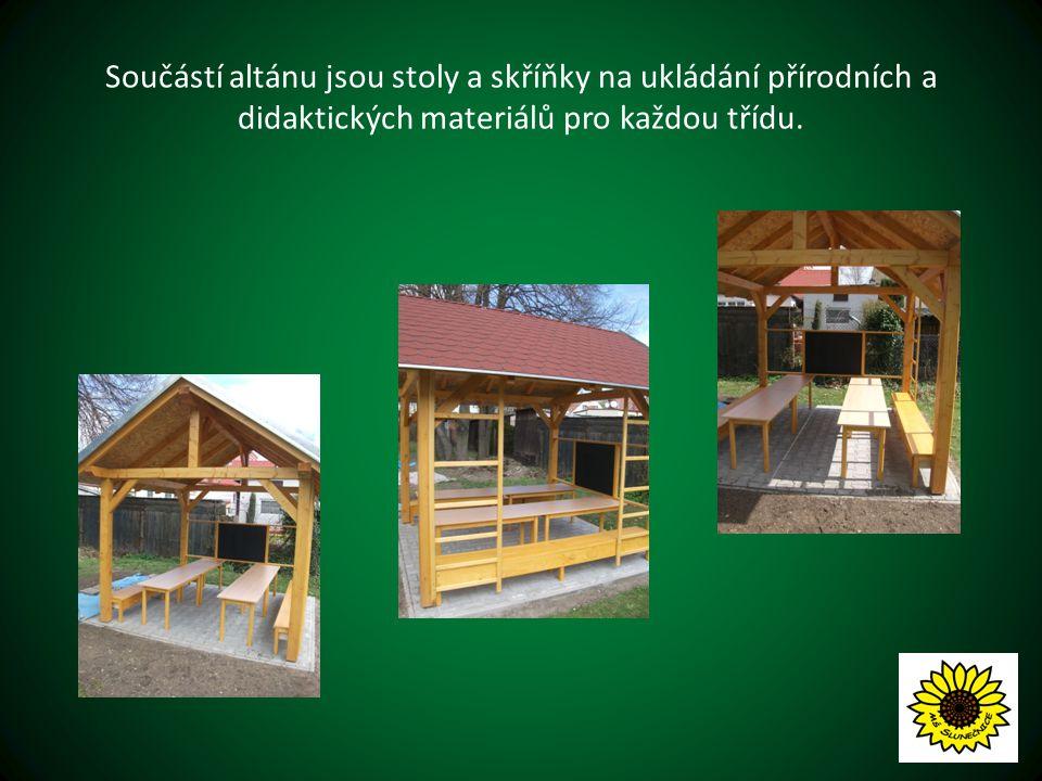 Součástí altánu jsou stoly a skříňky na ukládání přírodních a didaktických materiálů pro každou třídu.