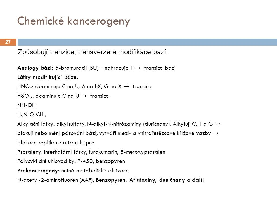 Chemické kancerogeny Způsobují tranzice, transverze a modifikace bazí.
