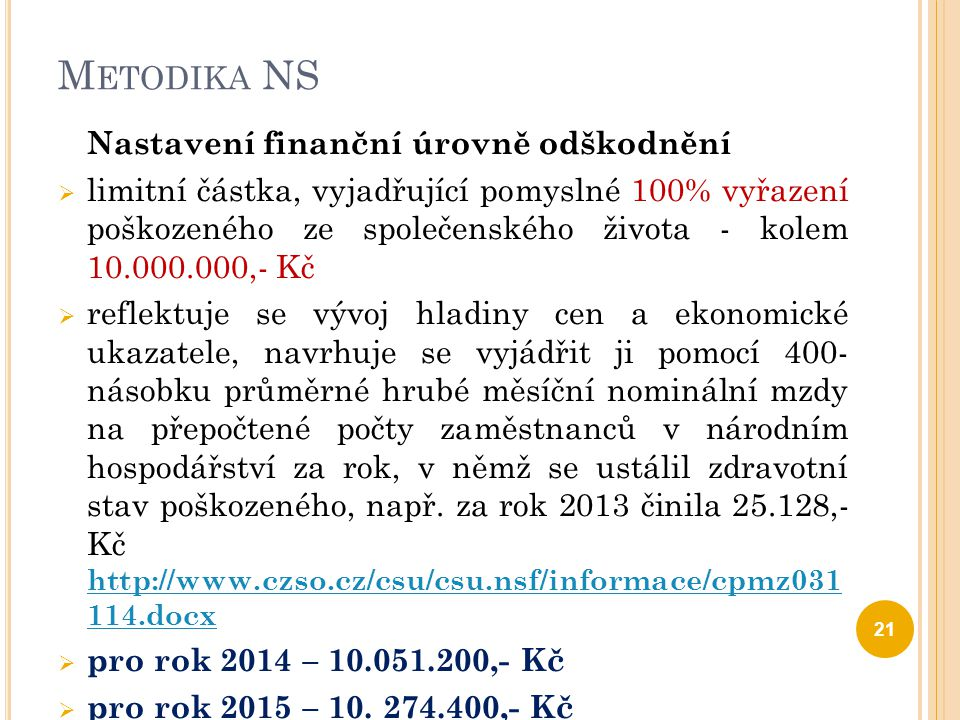 Metodika NS Nastavení finanční úrovně odškodnění