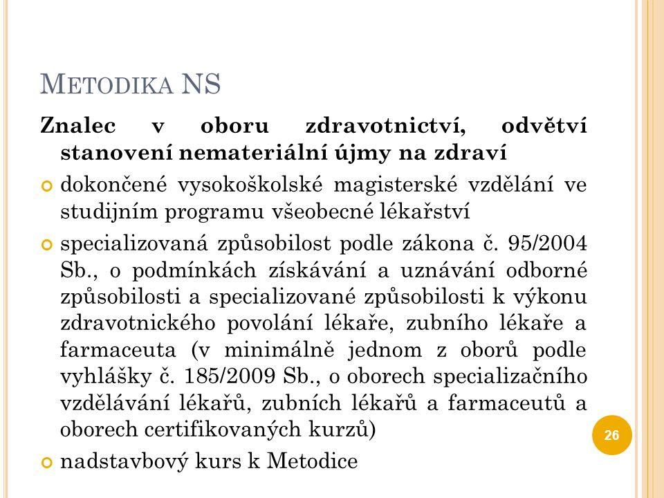 Metodika NS Znalec v oboru zdravotnictví, odvětví stanovení nemateriální újmy na zdraví.