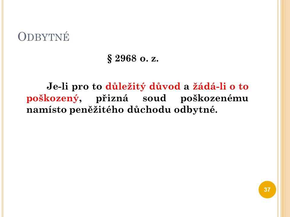 Odbytné § 2968 o. z.