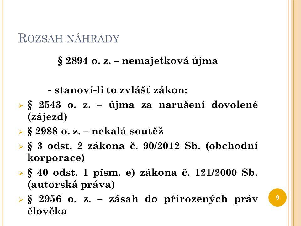 Rozsah náhrady § 2894 o. z. – nemajetková újma