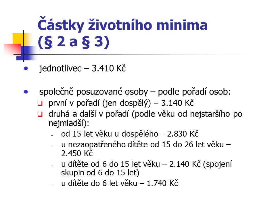 Částky životního minima (§ 2 a § 3)