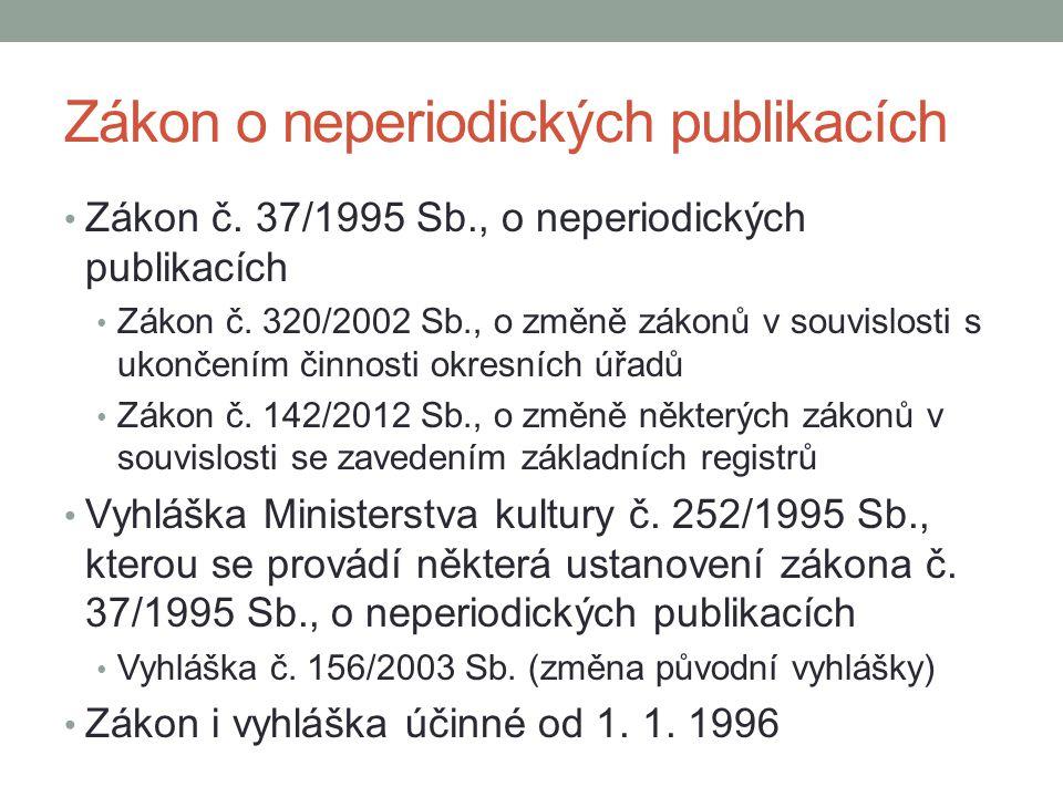 Zákon o neperiodických publikacích