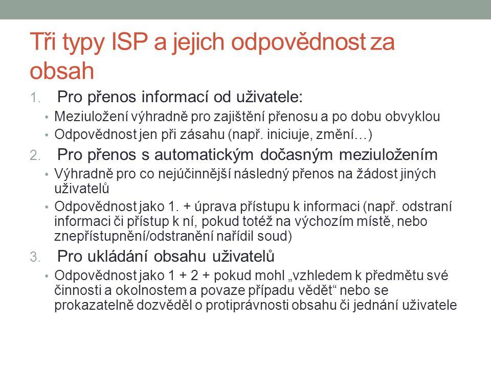 Tři typy ISP a jejich odpovědnost za obsah