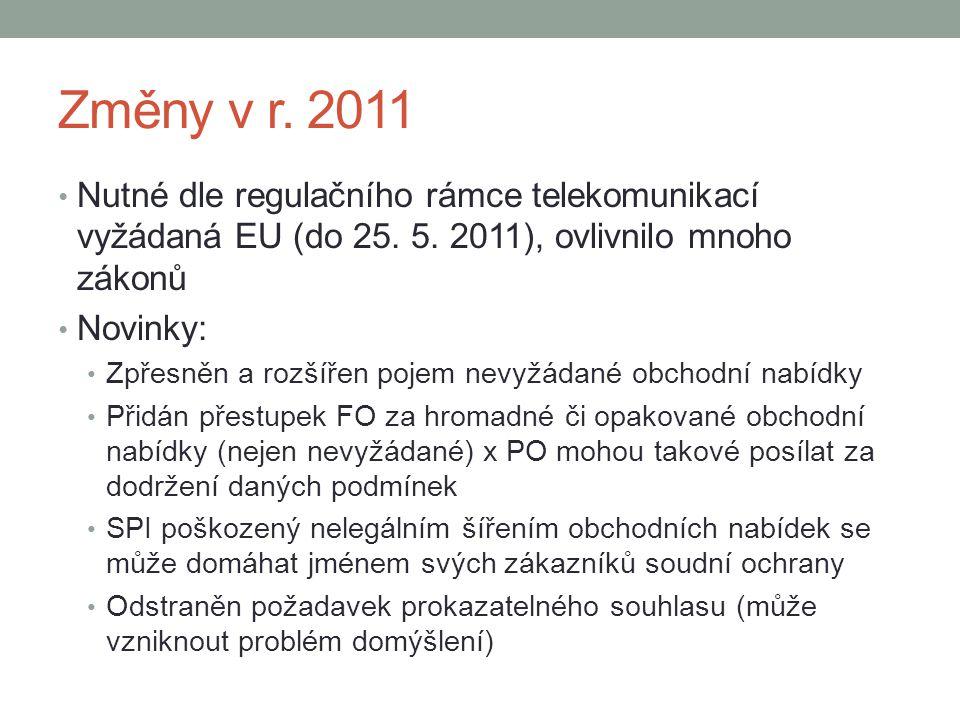 Změny v r. 2011 Nutné dle regulačního rámce telekomunikací vyžádaná EU (do 25. 5. 2011), ovlivnilo mnoho zákonů.