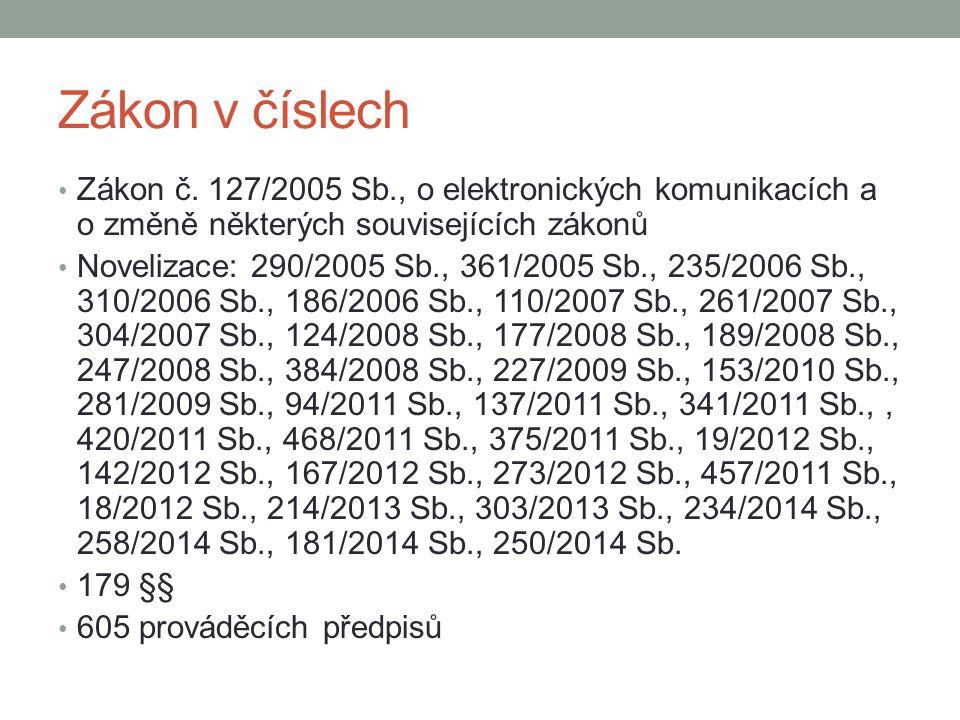 Zákon v číslech Zákon č. 127/2005 Sb., o elektronických komunikacích a o změně některých souvisejících zákonů.
