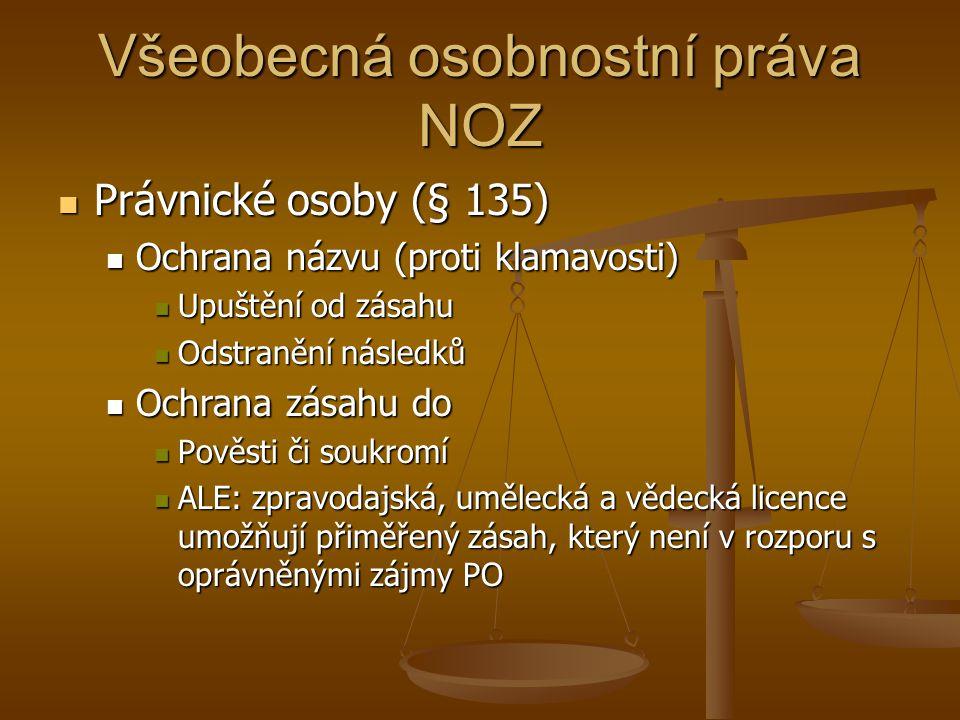 Všeobecná osobnostní práva NOZ