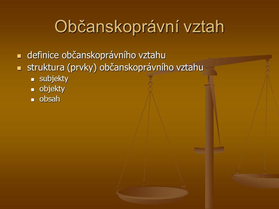 Občanskoprávní vztah definice občanskoprávního vztahu