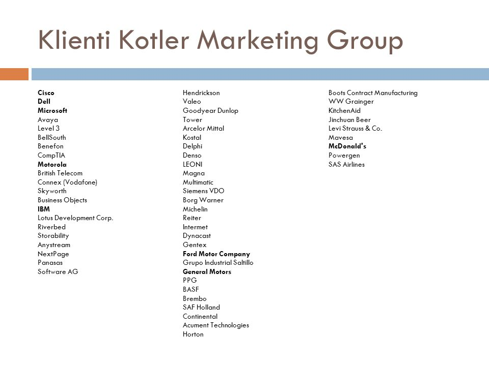 Klienti Kotler Marketing Group