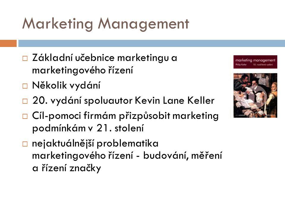 Marketing Management Základní učebnice marketingu a marketingového řízení. Několik vydání. 20. vydání spoluautor Kevin Lane Keller.