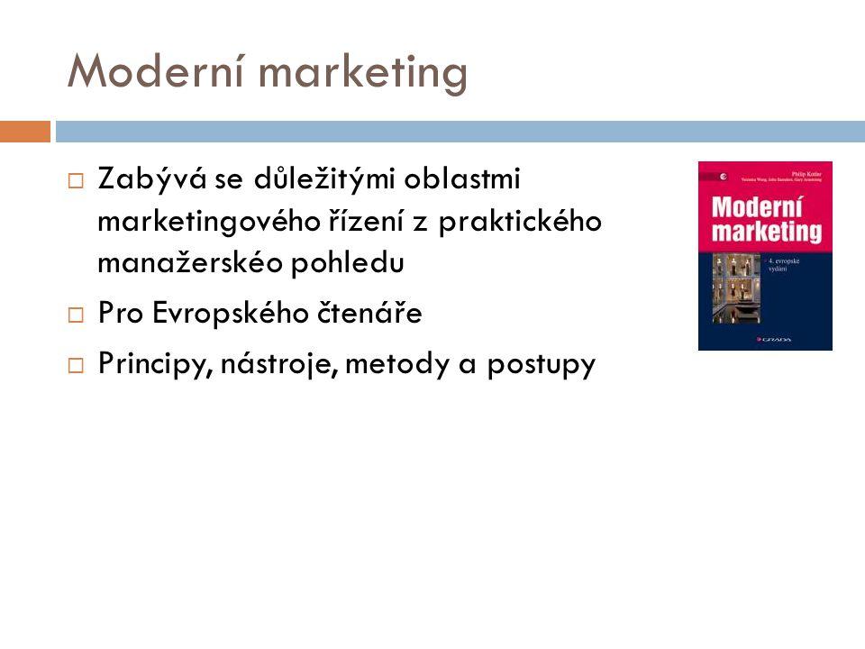 Moderní marketing Zabývá se důležitými oblastmi marketingového řízení z praktického manažerskéo pohledu.
