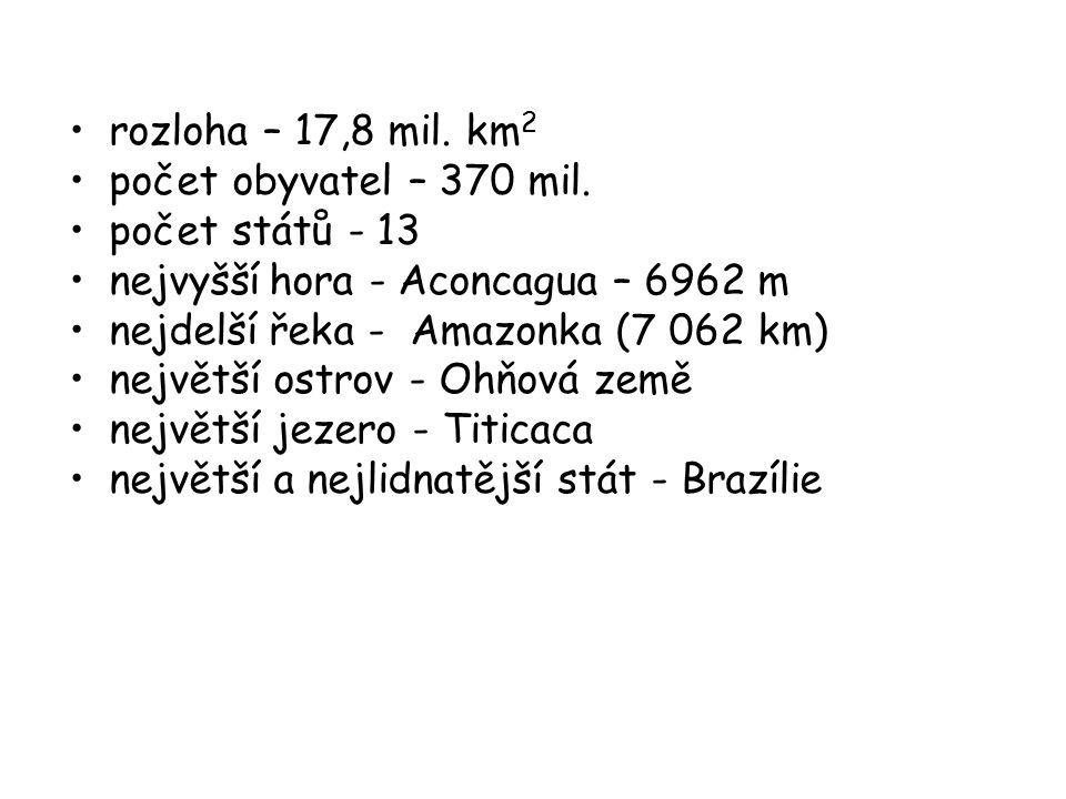 rozloha – 17,8 mil. km2 počet obyvatel – 370 mil. počet států - 13. nejvyšší hora - Aconcagua – 6962 m.