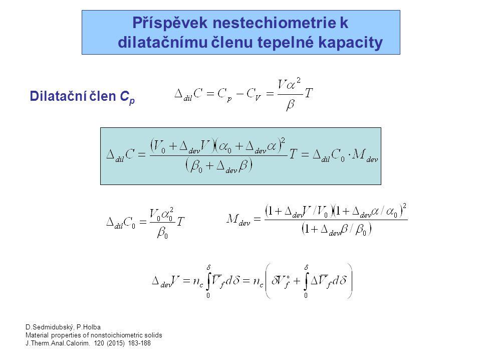 Příspěvek nestechiometrie k dilatačnímu členu tepelné kapacity
