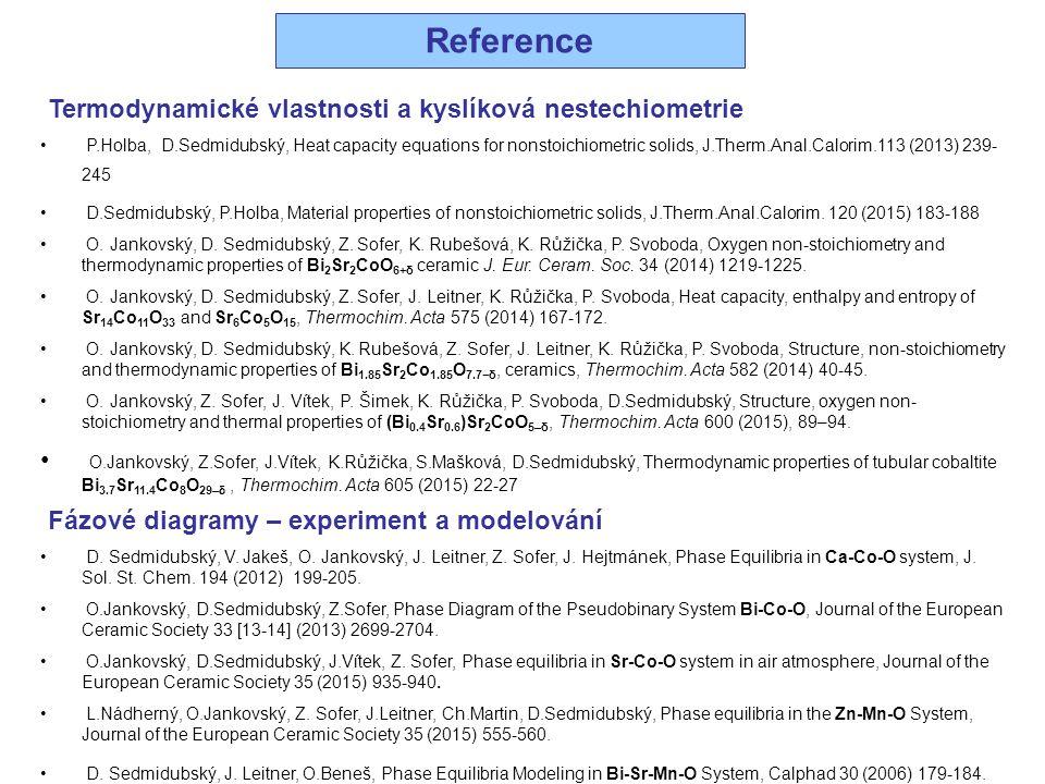 Reference Termodynamické vlastnosti a kyslíková nestechiometrie