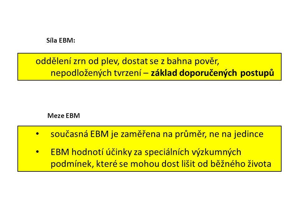 současná EBM je zaměřena na průměr, ne na jedince