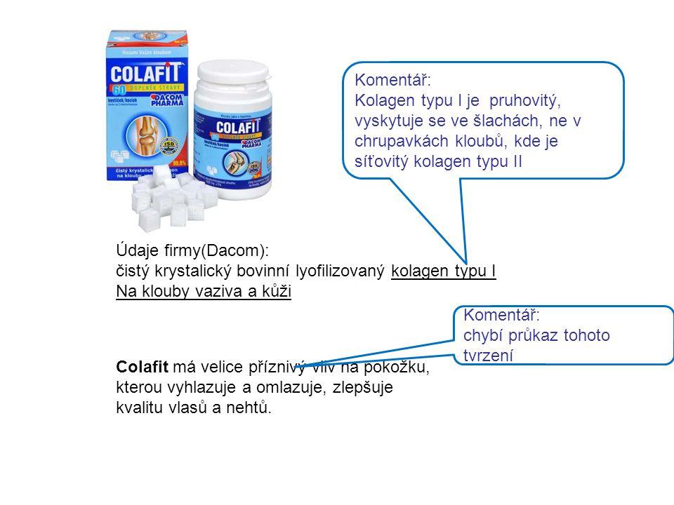 Komentář: Kolagen typu I je pruhovitý, vyskytuje se ve šlachách, ne v chrupavkách kloubů, kde je síťovitý kolagen typu II.
