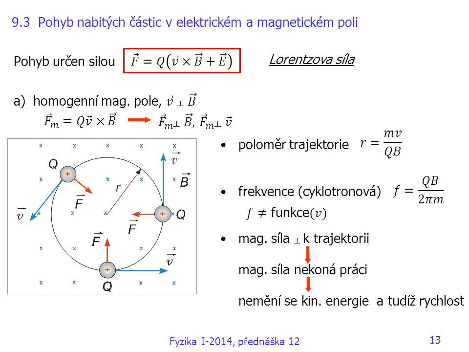 9.3 Pohyb nabitých částic v elektrickém a magnetickém poli