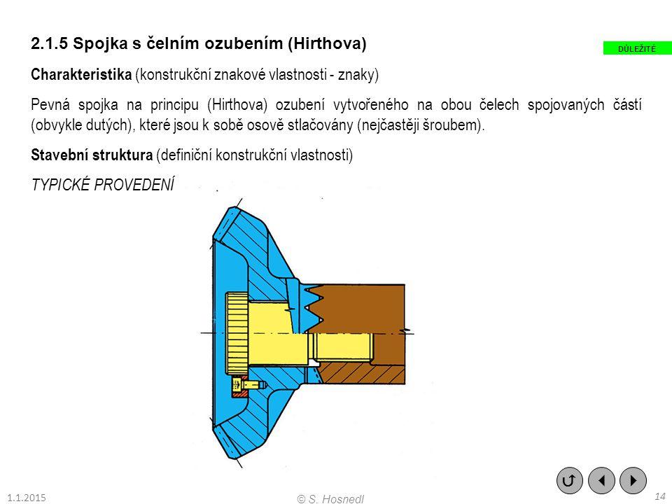 2.1.5 Spojka s čelním ozubením (Hirthova)