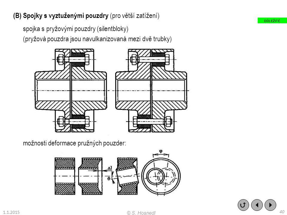 (B) Spojky s vyztuženými pouzdry (pro větší zatížení)
