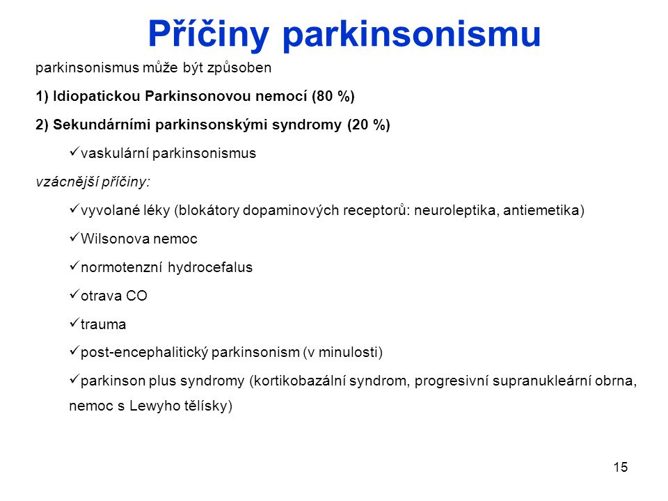 Příčiny parkinsonismu