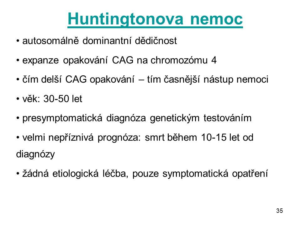 Huntingtonova nemoc autosomálně dominantní dědičnost